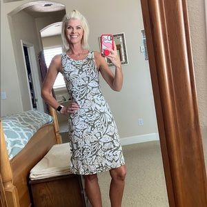 Tommy Bahama dress with twisted back and cutout.